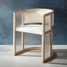 Kaishi White Mesh Chair + Reviews | CB2 Woven Chair, Mesh Chair, White Dining Chairs, Accent Chairs, Kitchen Chairs, Dining Room, Room Chairs, Grey Leather Chair, Leather Chairs