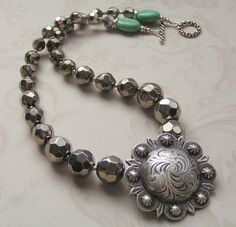 Look of Old Classic Silver / Engraved Concho, Crystals, Turq | miabellacollection-jewelry - Jewelry on ArtFire