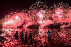 Copacabana Beach (Brazil) fireworks display. Visit: http://www.chaiacupoflife.com/new-year-fireworks #brazil #copacabanabeach