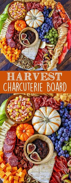 Harvest Charcuterie Board - Easy Fall Dinner or Appetizer Idea This easy to make Charcuterie Board is perfect for parties, and can be served as a fun dinner or as an easy fall appetizer for a bigger party. Colorful and packed with delicious meats, cheeses Plateau Charcuterie, Charcuterie And Cheese Board, Charcuterie Platter, Cheese Boards, Charcuterie Ideas, Thanksgiving Appetizers, Appetizers For Party, Appetizer Recipes, Harvest Appetizers