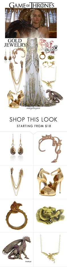 """""""Fire and Blood"""" by marylinopen ❤ liked on Polyvore featuring Alexander McQueen, REMINISCENCE, Giuseppe Zanotti, Cathy Waterman, Bernard Delettrez, GameOfThrones and goldjewelry"""