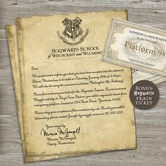 Harry Potter Birthday Party Invitation - Acceptance Letter, Hogwarts train ticket - Printable Digital File