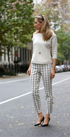 ivory and black window pane check cropped ankle pants