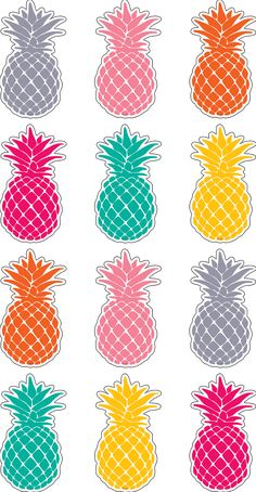 "Tropical Punch Pineapples Mini Accents http- Have fun decorating with these colorful little pieces that measure about 2-5/8"". Use them to accent displays, to fill in monthly calendars, or as pieces for learning games like sorting, patterning, and graphing. 6 colors. 36 accents per pack. Approx. 2-5/8"" x 2-5/8""."