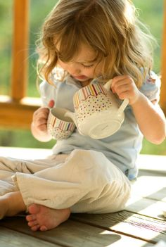 Little Girl with Teapot - Emma has loved tea parties since she could barely walk....LOVE this!