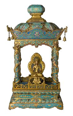 Shrine with an image of Bodhisattva  Qing dynasty, Qianlong period   Shrine: cloisonné enamel on copper alloy; image: copper with semiprecious stones