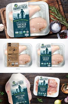 Farmer Focus by truly creative - Truly Creative Egg Packaging, Honey Packaging, Food Packaging Design, Organic Meat, Organic Chicken, Frozen Food Brands, Chicken Brands, Fish Snacks, Meat Store