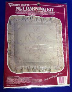 Lace NET DARNING Pillow Kit American Flower Fabric Ruffle Vogart Crafts Sealed