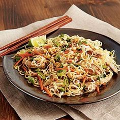 Chinese Pork Tenderloin with Garlic-Sauced Noodles Recipe | MyRecipes.com