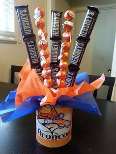 I love making these as football party gifts! OFFICIAL Denver Broncos