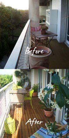 Transformation d'un balcon; Des idées pour aménager et décorer un balcon, épinglées par Helpmaison groupement d'artisans wallons du Bâtiment ( Belgique ) http://helpmaison.com/2014/05/03/helpmaison-vous-aide-a-transformer-vos-reves-en-realite/