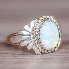 White Opal Navajo Ring | Bohemian Gypsy Jewelry | Boho Festival Jewellery | Hippie Fashion Style | Indie and Harper
