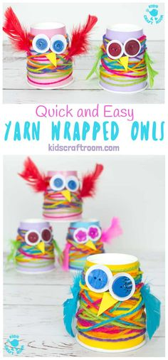 Paper Cup Yarn Wrapped Owls : PAPER CUP YARN WRAPPED OWL CRAFT - Looking for easy preschool owl crafts? These Paper Cup Owls are a hoot! Cute, colourful, fun and great for fine motor skills. Yarn Wrapped owls are such a fun fall craft idea for kids. Yarn Crafts For Kids, Easy Fall Crafts, Craft Projects For Kids, Toddler Crafts, Owl Crafts Preschool, Craft Ideas, Craft Activities, Garden Projects, Funny Crafts For Kids