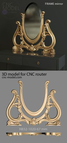 A1260 FRAME mirror cnc-model.com 3D model for cnc router 3D furniture Royal Furniture, Classic Furniture, Luxury Furniture, Furniture Design, Wooden Main Door Design, Dressing Table Design, Victorian Chair, Modelos 3d, Bed Linen Design