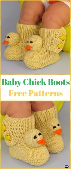 Knit Baby Chick Boots Free Pattern - Knit Slippers Booties Free Patterns