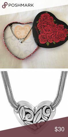 "NWT Brighton Eva Heart Necklace Unique Heart design with 3 Swarovski crystals. Triple chain. 18"". Silver plated. Brighton Jewelry Necklaces"