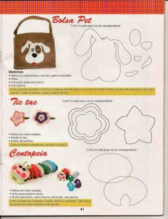 Cute stuff for Kids - scroll down Applique Patterns, Applique Designs, Embroidery Applique, Fabric Patterns, Sewing Patterns, Dog Crafts, Felt Crafts, Sewing Tutorials, Sewing Projects