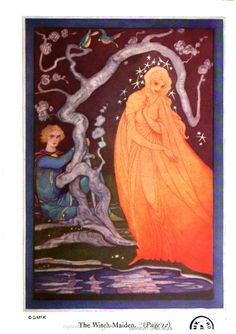 """""""The witch-maiden,"""" illustrated by Jennie Harbour, in Andrew Lang's Yellow Fairy Book."""