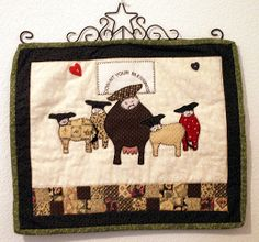 Appliqued Quilt Wall Hanging with Hanger COW Nt Your by mrnglry, $24.50