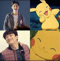 what's the difference? Pokemon, Pikachu, Xiuchen, Kim Jongdae, All The Things Meme, Exo Memes, Kpop Exo, Chanbaek, Hyungwon