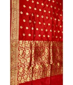 Red Banarasi Handloom Katan Silk Saree---------Red is a vibrant color that represents the flow of energy from the sun. It symbolizes power and passion. It is also considered an auspicious color in Indian culture. Wedding attire and accessories in red is almost part of various cultures and traditional practices in India. When it comes to grand and lavish Indian weddings, the divine color, red, is inevitable. ----------Sarees from Luxurionworld.com