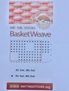 The Basketweave stitch is simple to memorize and quick to work. Pattern is not reversible. Knit Purl Stitches, Knitting Stiches, Knitting Charts, Free Knitting, Baby Patterns, Stitch Patterns, Knitting Patterns, Yarn Projects, Knitting Projects