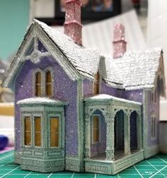 What are the Best Tools for Making Putz Houses or Paper Houses? Patterns and Templates - Paper Glitter Glue Christmas Village Houses, Putz Houses, Christmas Villages, Christmas Home, Vintage Christmas, Christmas Crafts, Christmas Mantles, Halloween Village, Victorian Christmas