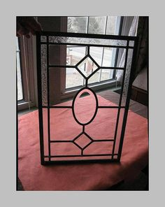 Leaded Glass Clear Panel Beveled Oval Center by MillingtonMill, etsy