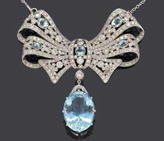 Rosamaria G Frangini | High Antique Jewellery |Art Deco Aquamarine and Diamonds Necklace