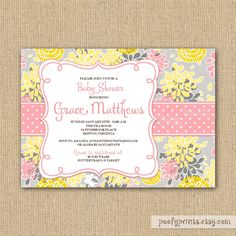 Baby Girl Shower Invitation - Yellow and Gray DIY Printable Invitations. $24.00, via Etsy.