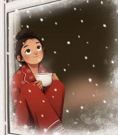 Art And Illustration, Illustration Inspiration, Cartoon Illustrations, Character Illustration, Cartoon Drawings, Cartoon Kunst, Alone Art, Cute Cartoon Girl, Winter Art