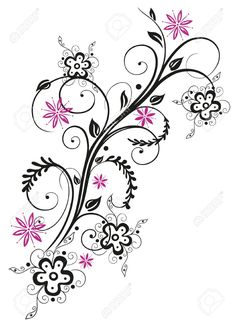 Colorful abstract flowers, pink and black