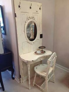 Vanity from an old door. - Vanity from an old door. Informations About Vanity from an old door. Pin You can easily use my profi - Shabby Chic Dresser, Decor, Chic Furniture, Furniture Makeover, Diy Home Decor, Home Diy, Diy Furniture, Shabby Chic Bathroom, Home Decor