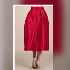 Beautiful red Skirt perfect for Xmas Measurements are 36Bx 28x 38 also available in Silver Skirts Maxi