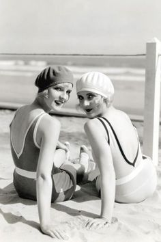 Diane Ellis and Carole Lombard soaking up some sun, 1920s