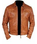 Men's handmade Fashion Lambskin Leather Tan Waxed Moto Jacket - $159.99+