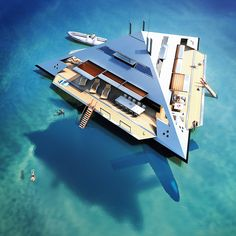 This futuristic yacht design would actually float above the sea Yacht Luxury, Luxury Life, Floating Architecture, Futuristic Architecture, Yacht Design, Super Yachts, Cool Boats, Small Boats, Floating House