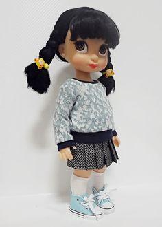 Disney Animation 16 poupée jupe plissée chevrons bleu par dollcat