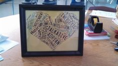 End of Year Student Gifts: shaped word clouds describing each student.