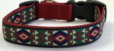 Dog Collar:Aztec/Southwestern Jacquard Ribbon Dog Collar, Designer Dog Collar, Custom/Puppy/Adult/Pet Collars,Pet Supplies,Veterinary Gift by TwistnShoutDesigns on Etsy