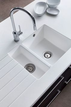 -Stunning encore glacier white worktop with undercounted white sink. Think this r… Stunning encore glacier white worktop with undercounted white sink. Think this really works matching the two together. Modern Kitchen Sinks, White Kitchen Sink, Kitchen Sink Design, Modern Sink, White Sink, Kitchen Taps, Kitchen Countertops, Diy Kitchen, Cool Kitchens