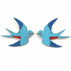 Pair of Swallows Brooches - set of 2 Clothes Horse, Swallows, Baby Shop, Interior Architecture, Brooches, Royal Blue, Baby Gifts, Childhood, Clock