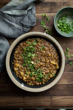 A warming winter lentil stew featuring brown lentils cooked with celery, onions, and potatoes along with a spice mix of cinnamon, cardamom, and cloves. This stew is vegan and gluten-free too.