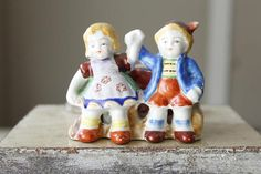 Vintage Planter Occupied Japan Colorful Boy and Girl