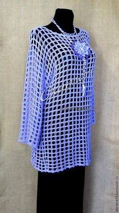 Купить Туника с длинным рукавом ажурная для пляжа хлопок - голубой, туника, туника вязаная