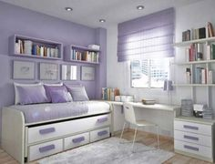 Fantastically Functional Bedroom Layout Ideas for Small Room: Stunning Teens Bedroom Fancy Lavender And White Teenage Girls Bedroom With Functional Bed And Minimalist Study Area ~ articature.com Bedroom Design Inspiration