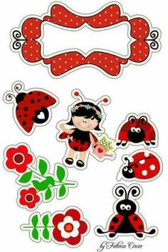 Resultado de imagem para TOPO JOANINHA SVG Baby Ladybug, Ladybug Party, Printable Stickers, Printable Paper, Hand Embroidery Designs, Embroidery Patterns, Ladybug Crafts, Diy And Crafts, Paper Crafts