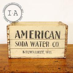Vintage Industrial American Soda Water Wooden Storage Crate on Etsy, $125.00