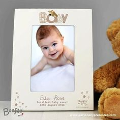 This Personalised Boofle Baby White 6x4 Photo Frame is an ideal way of displaying treasured photographs.The frame can be personalised with 3 lines of text, with up to 30 characters per line.  The word 'BABY' is fixed.  All text is case sensitive and will appear as entered, however, due to the font used please avoid entering all your text in block capitals as this may result in the personalisation being difficult to read.Can be displayed hanging or standing to fit in the space available…