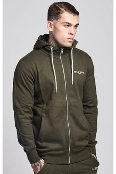 Illusive London Zip Through Hoodie - Forest Green
